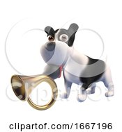 Poster, Art Print Of 3d Funny Puppy Dog With Black And White Markings Holds An Old Car Horn In Its Mouth 3d Illustration