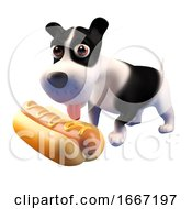 Poster, Art Print Of 3d Hungry Puppy Dog Looks At A Giant Hot Dog Food Snack 3d Illustration
