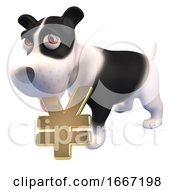 Poster, Art Print Of 3d Cute Puppy Dog Holding A Gold Yen Or Yuan Currency Symbol In Its Mouth 3d Illustration