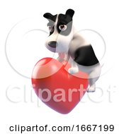 Poster, Art Print Of 3d Cute Puppy Dog Is Feeling All Romantic And Hugging A Red Heart 3d Illustration