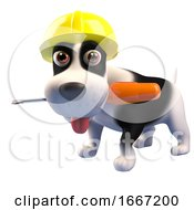 Poster, Art Print Of 3d Cute Puppy Dog Wearing A Safety Hard Hat And Holding A Screwdriver In Its Mouth 3d Illustration