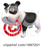 Poster, Art Print Of 3d Cute Puppy Dog Holding A Copyright Symbol In Its Mouth 3d Illustration