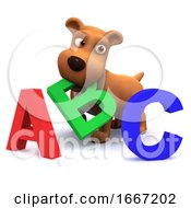 Poster, Art Print Of 3d Puppy Dog Learns The Alphabet