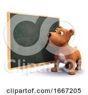 Poster, Art Print Of 3d Puppy Dog At The Blackboard