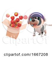 Poster, Art Print Of 3d Puppy Dog In Astronaut Spacesuit Watching Apples Spill From A Cardboard Box In Zero Gravity 3d Illustration