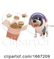 Poster, Art Print Of 3d Puppy Dog In Astronaut Spacesuit Watching Cheeseburgers Spill From A Cardboard Box In Zero Gravity 3d Illustration