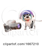 Poster, Art Print Of 3d Cute Puppy Dog Wearing A Spacesuit Looking At A Camera In Zero Gravity 3d Illustration