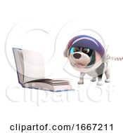 Poster, Art Print Of 3d Cute Puppy Dog Wearing Astronaut Spacesuit Reading A Book In Zero Gravity 3d Illustration