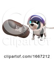 Poster, Art Print Of 3d Puppy Dog In Astronaut Spacesuit Watching A Nuclear Bomb Fall 3d Illustration