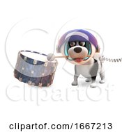 Poster, Art Print Of 3d Puppy Dog With Spots In Spacesuit Beating On A Drum 3d Illustration