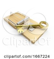 3d Gold Key On A Mousetrap