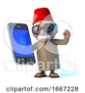 3d Moroccan Using His Smartphone