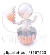 Poster, Art Print Of 3d Little Man Hatches From An Egg