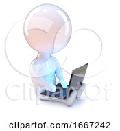 3d Little Man With A Laptop In His Lap