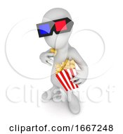 3d Little Person Wearing 3d Glasses And Eating Popcorn At The Cinema