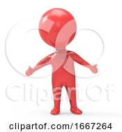 3d Red Man With Arms Outstretched