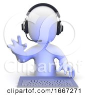 3d Little Man Wearing A Headset Online And Waving