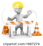 3d Man At Road Works