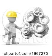 Poster, Art Print Of 3d Man Repairs The Geared Machine