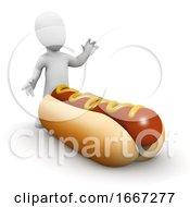 Poster, Art Print Of 3d Man Has A Large Sausage In His Bun