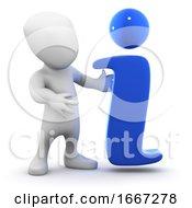 3d Man With Info Symbol