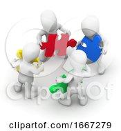 Poster, Art Print Of 3d Men Work Together
