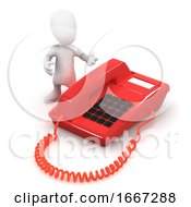 3d Man With Red Phone