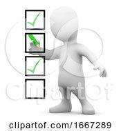 Poster, Art Print Of 3d Little Man Ticks Boxes