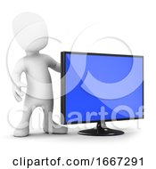 3d Man With Widescreen Tv Monitor