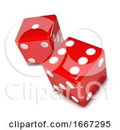 3d Two Red Dice