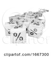 Poster, Art Print Of 3d Distant White Percent Sign Dice