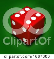 Poster, Art Print Of 3d Red Dice On Green Background