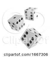3d Three White Dice Falling