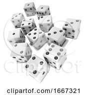 Poster, Art Print Of 3d White Dice On White Background