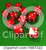 3d Red Dice On Green Background
