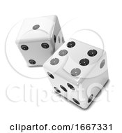 Poster, Art Print Of 3d White Dice