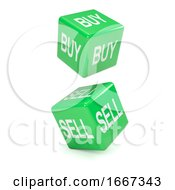 Poster, Art Print Of 3d Green Buy And Sell Dice