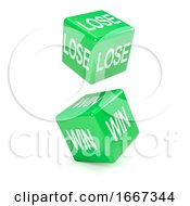 Poster, Art Print Of 3d Green Lose And Win Dice