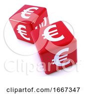 Poster, Art Print Of 3d Red Euro Dice