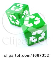 Poster, Art Print Of 3d Two Green Recycle Dice