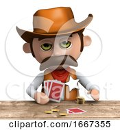 3d Cowboy Sheriff Plays Poker