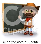 3d Cowboy Sheriff Teaches At The Chalkboard