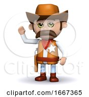 3d Cowboy Sheriff Waves Hello
