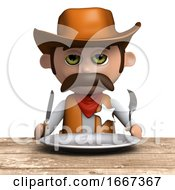 3d Cowboy Sheriff Has An Empty Plate