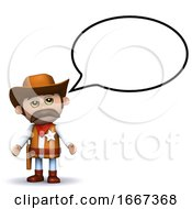 3d Cowboy Sheriff With Speech Balloon