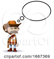 3d Cowboy Sheriff With Thought Bubble