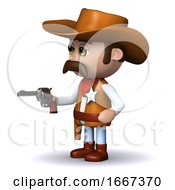 3d Cowboy Sheriff Draws His Gun