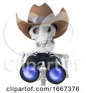 3d Cowboy Skeleton Is Watching You With Binoculars