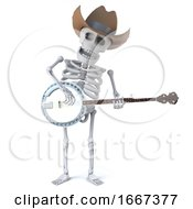 3d Cowboy Skeleton Plays A Banjo Ukulele