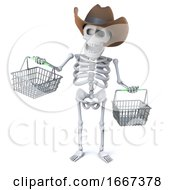 3d Cowboy Skeleton Goes Shopping